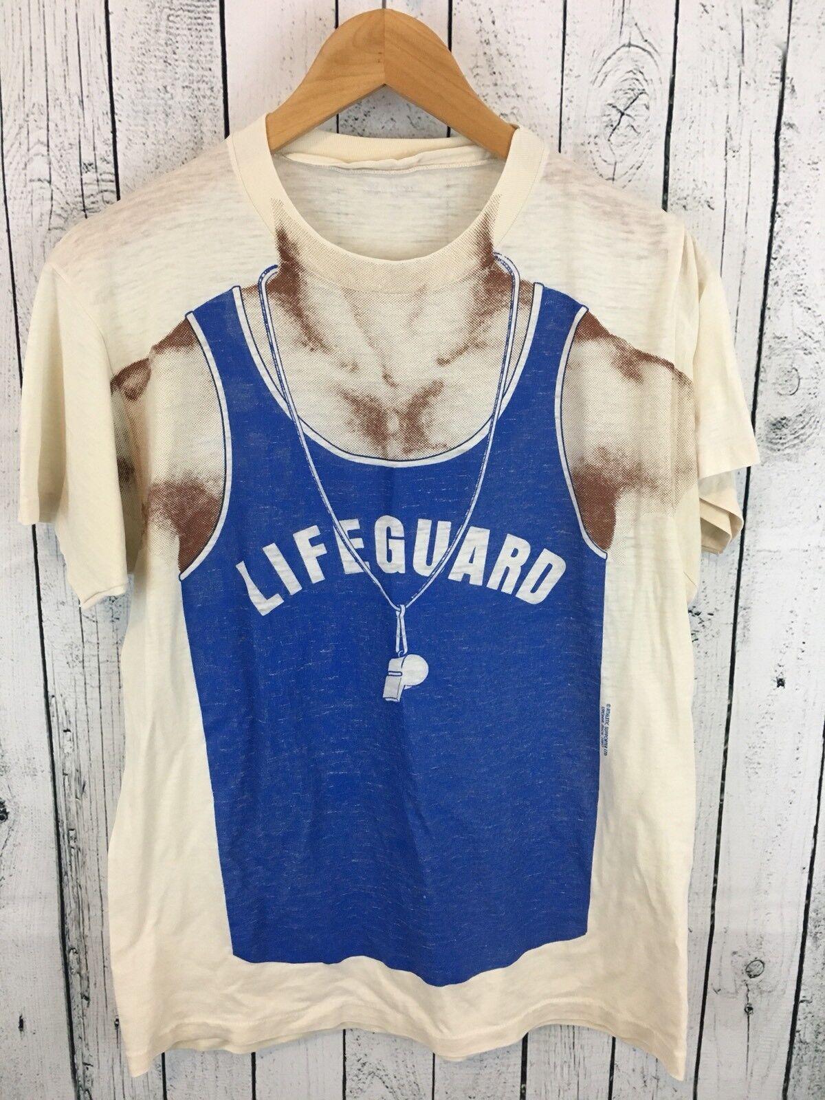 VTG ATHLETIC SUPPORTER LTD. Lifeguard T Shirt Size M L Beige AWESOME V3