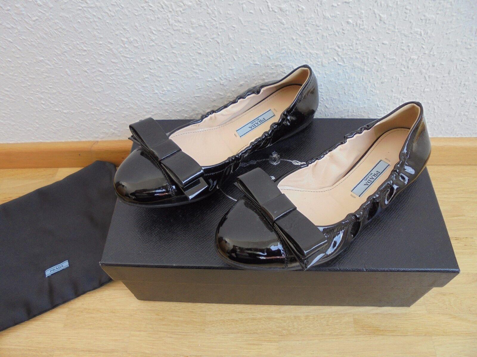 Prada Lackleder Ballerinas UVP 549 Schuhe Tasche Pumps Mokassins Gr. 35 35,5 36
