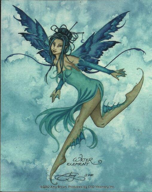 """AMY BROWN FAIRY FAERY STICKER DECAL """"WATER ELEMENT"""" FROM 2002"""