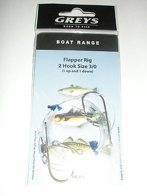 Greys 5 x Boat sea rigs Flapper rig 2 hook 3//0 1 up 1 down Fishing tackle