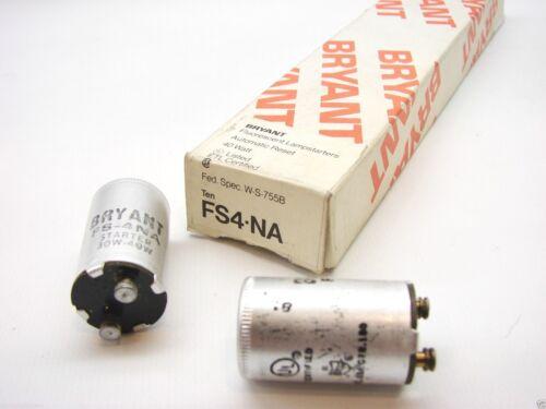 Box Of 10 Bryant FS4-NA Fluorescent Bulb Starters Automatic Reset 40 Watt b95