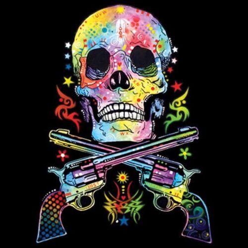 Skull /& Guns Neon Tee Choose Style /& Size Up to 4XL Glows w// Blacklight  10493