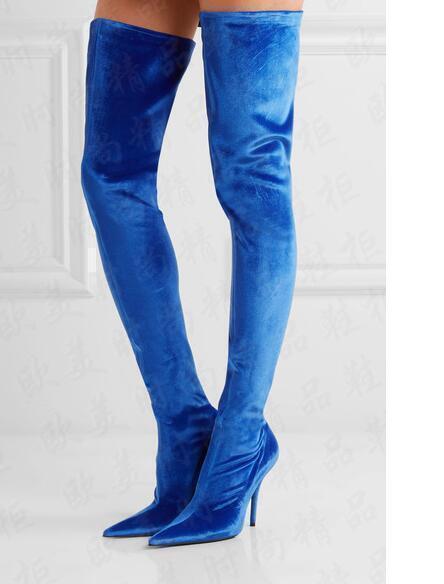 Mujeres botas sobre la la la rodilla del muslo Alto Puntera Puntiaguda Tacón Alto Zapatos De Encaje De Terciopelo Elástico  El ultimo 2018