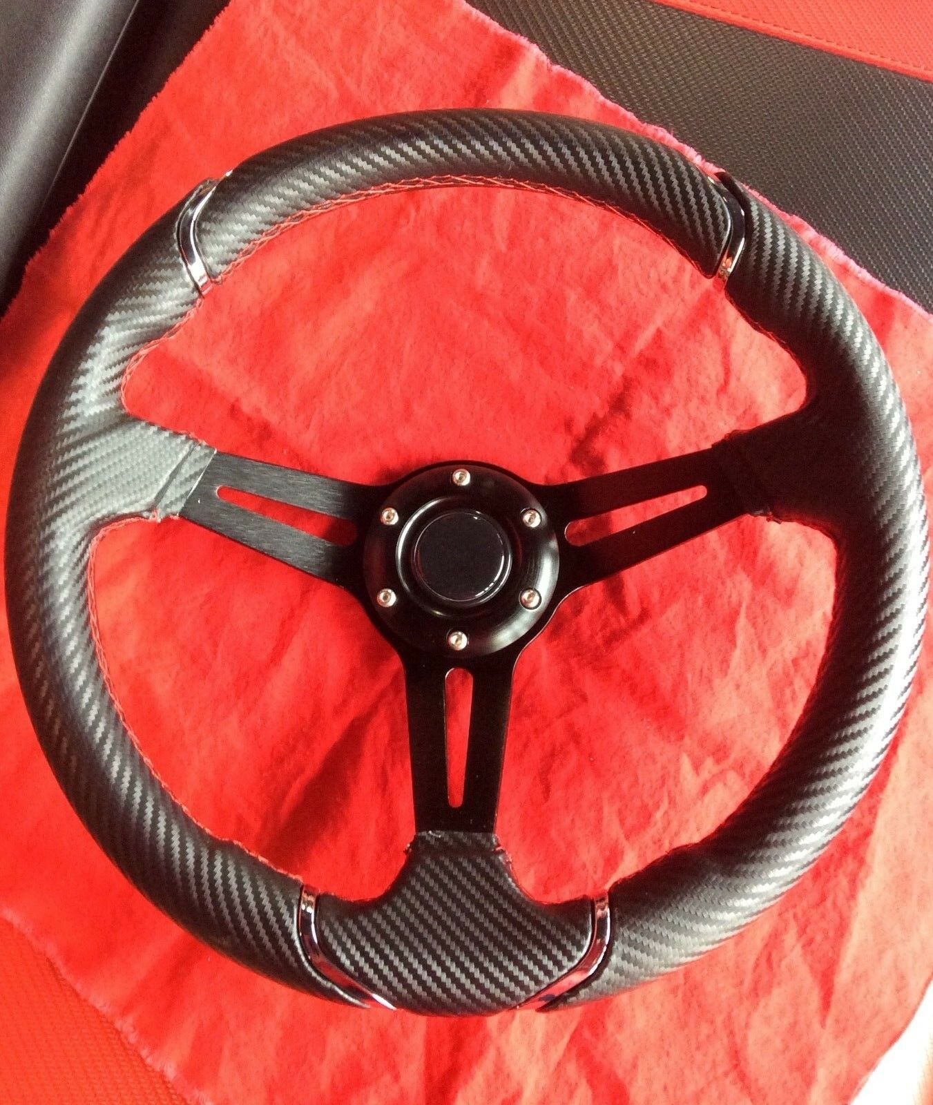"Pro-Fit 14"" Carbon Fiber with Chrome Steering Wheel and Adapter for EZGO"