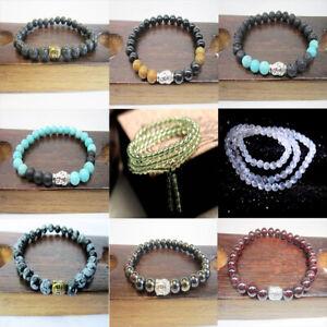 Natural-Gemstone-Beads-Buddha-Head-Beaded-Men-Womens-Lava-Rock-Handmade-Bracelet