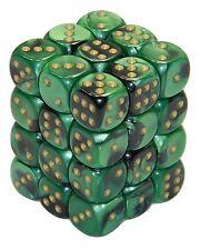 New Chessex 36 Piece 12mm 6 Sided Dice Set Black Green Gemini CHX26839