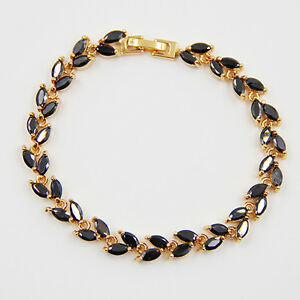 18K-Gold-Plated-Black-Sapphire-Marquise-Cut-Maple-Leaf-Bracelet