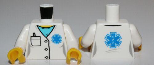 Lego Torso Hospital Lab Coat Medium Azure Scrubs Blue EMT Star of Life