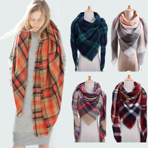 Women Blanket Oversized Tartan Check Scarf Wrap Shawl Plaid Cozy Pashmina