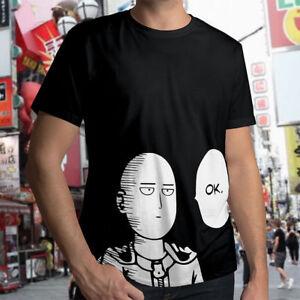 Saitama-Japan-Anime-Manga-One-Punch-Man-Mens-Unisex-Crew-Neck-Tee-T-Shirt-Cotton