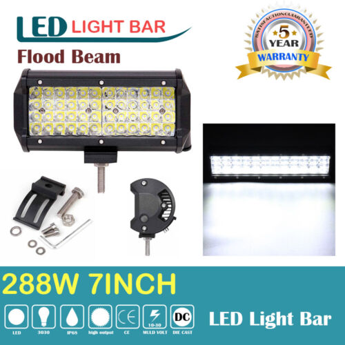 7inch LED Work Light Bar Flood Beam Fog Driving Lamps SUV ATV Off-Roads UTE #K