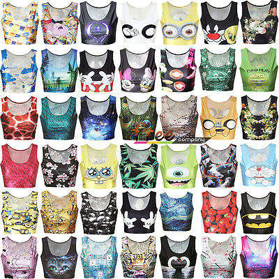 Women Crop Tops 3D Graphic Galaxy Tank Tops Print Summer Stretchy Cover Cami Up