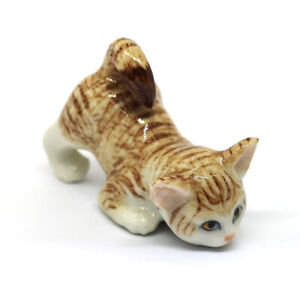 Handmade-Dollhouse-Miniatures-Ceramic-Porcelain-Fat-baby-Tabby-kitten-Cat