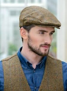 b815d67da Details about Mucros Weavers Irish Trinity Men Irish Flat Cap Hat aran  Brown Tweed 92