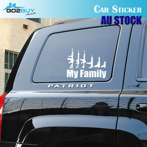 MY-FAMILY-PISTOL-GUNS-White-Reflective-Car-Truck-Window-Sticker-Decal-Decoration