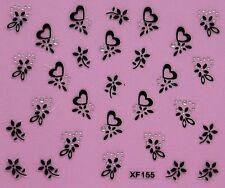 Nail Art Stickers Black Wrap Flower Heart Halloween Corolla Crystal Tattoos 155