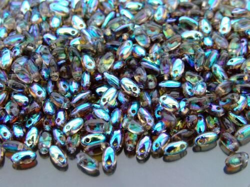 10 g Tchèque Rizo Perles De Verre Taille 2.5x6mm BLACK DIAMOND AB