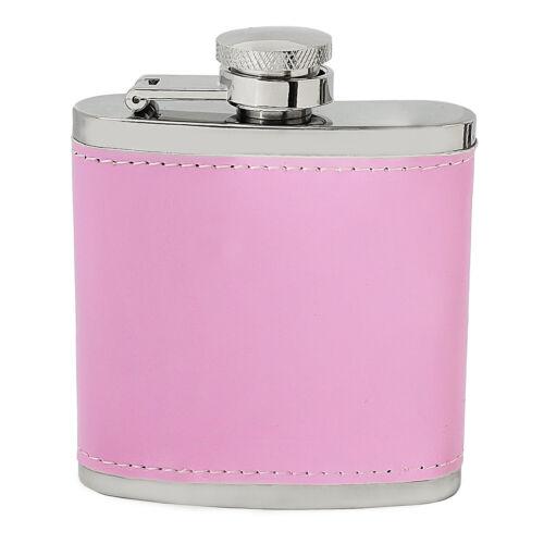 Ladies Pink Hip Flask Gift 3oz Birthday Bridesmaid Present Hen Night PU Leather