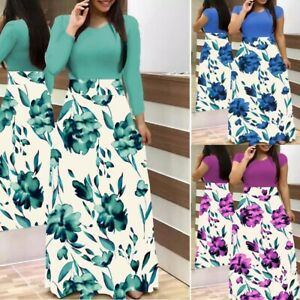 Women-Summer-Maxi-Sundress-Long-Sleeve-Plus-Size-Gown-Sexy-Floral-Dress-Fashion