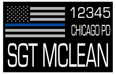 USA POLICE THIN BLUE LINE PERSONALIZED BADGE P13 LoPro POLYFLEX POLYMER PATCH