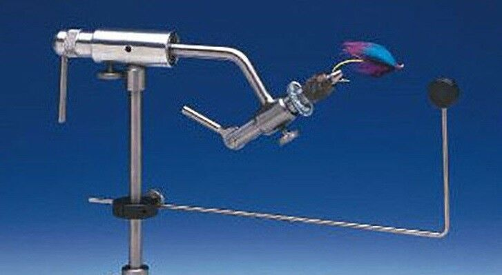 DYNA KING BARRACUDA redARY FLY TYING VISE WITH CLAMP BASE 100 FREE HOOKS