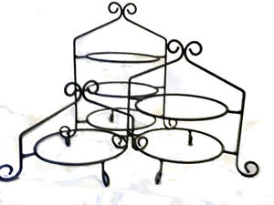 Image is loading 3-Pc-Set-Hand-Wrought-Black-Iron-Cupcake-  sc 1 st  eBay & 3 Pc Set - Hand Wrought Black Iron Cupcake Pie Plate Holder Rack ...