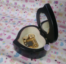 """Play """"It is a Small World"""" Heart Shape Music Box With Sankyo Movement (Black)"""