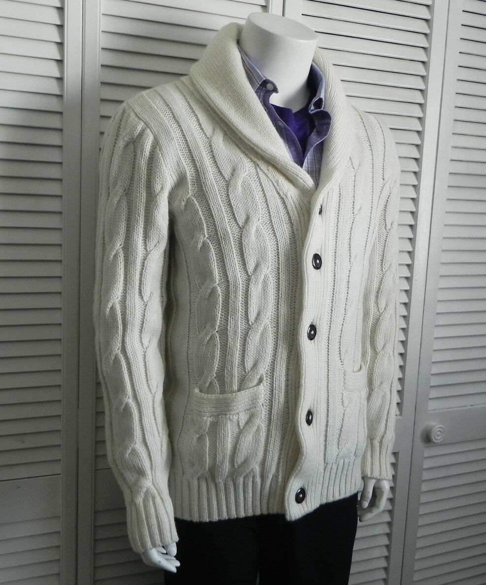 NEW Mens XL ALPACA Ivory White Shawl Collar Cable Knit Cardigan Sweater PERU