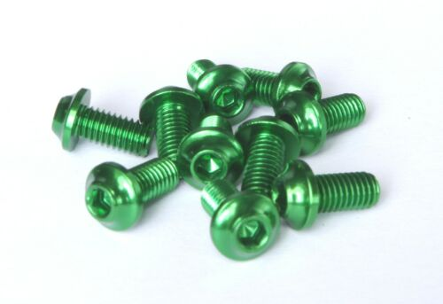 10 piece Aluminium Screws 7075er m5x10 with 3mm 6-Socket Alloy Bolts Green PW