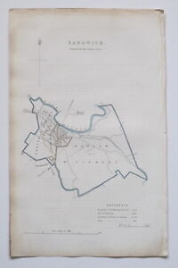 1837 SANDWICH GENUINE ANTIQUE MAP DAWSON & REPORT HAND COLOURING