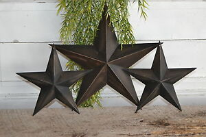 "SET of 3 12"" 8"" BLACK BARN STARS Metal Tin Primitive Country Rusty Farmhouse"