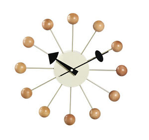 Classic-Modern-Design-Retro-Natural-Wood-Ball-Wall-Clock-George-Nelson-Replica