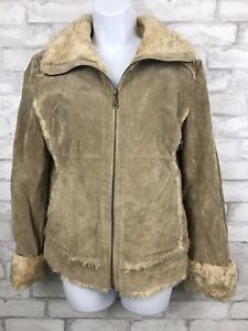 Women's Wilson's Leather Tab Brown Jacket Coat Suede Faux Shearling Sherpa Sz M