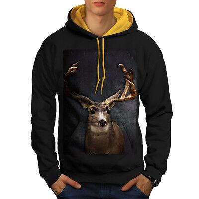 Wellcoda Beast Wild Animal Deer Mens Contrast Hoodie, Buck Casual Jumper Perfekte Verarbeitung