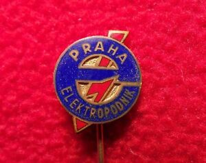 Antique-Badge-Pin-Elektropodnik-Praha-Red-lightning-electricity-Antiker-CA1