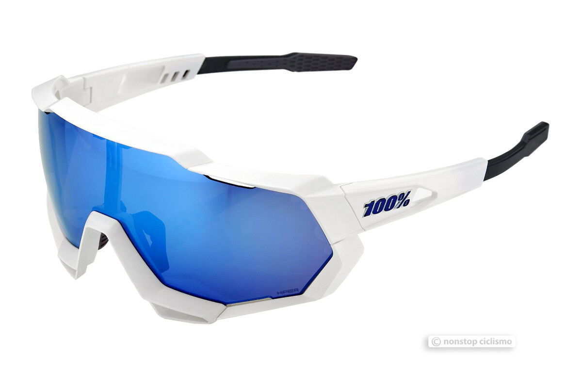 100% SPEEDTRAP Cycling UV Sunglasses MATT WHITE HiPER blueE  MIRROR LENS  wholesale prices