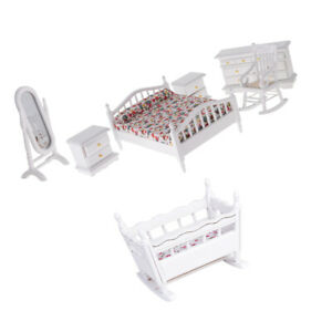 Dollhouse-1-12-Miniature-Furniture-High-Quality-Bedroom-Set-amp-Nursery-Cradle