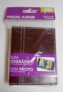 Pinnacle Frames Accents Photo Album Brown Holds 24 Photos 2 X 3