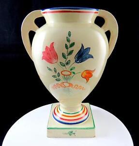 Perugia Italie Signé 2954 Motif Floral Base Carré 10 0.6cm à Poignées Urne Vase sq1rD6Uf-09120206-974331113