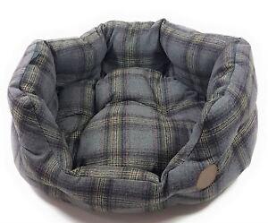 Lit de luxe 50 cm pour chien de compagnie en coton molletonné avec tartan tweed gris de luxe - 20