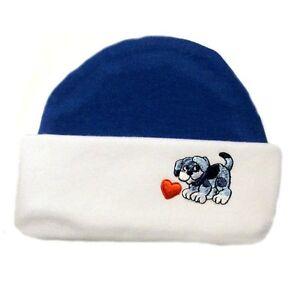 Baby Boy Blue Puppy Valentine's Day Hat  - 5 Preemie and Newborn Infant Sizes