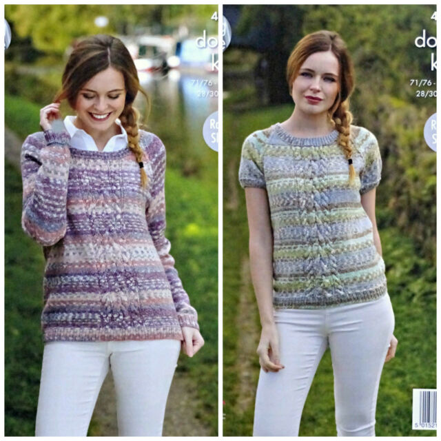 3b4d506ae993e KNITTING PATTERN Ladies Short Sleeve Round Neck Cable Jumper DK King Cole  4802