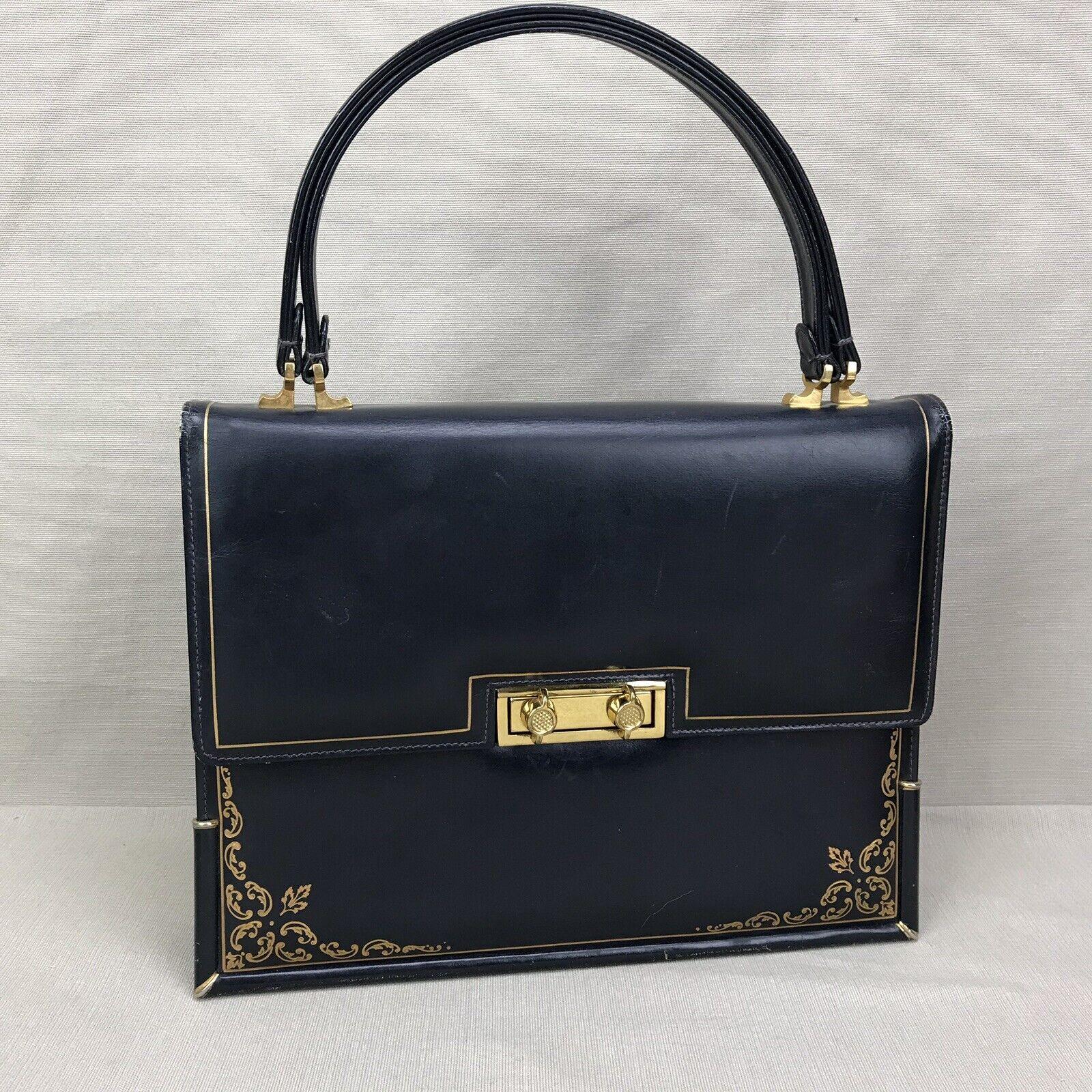 Scuola del Cuoio Vintage 1950s Purse Blue Gold Em… - image 1
