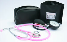Black Aneroid Blood Pressure Monitor - Sphygmomanometer & Pink Stethoscope