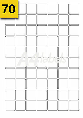 x 1400 Square Blank White A4 Laser Printer Labels. 20 Sheets 25mm x 25mm