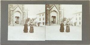 Deux Femmes Modalità X Sortie Da L'Eglise Foto Stereo Vintage Citrato c1900