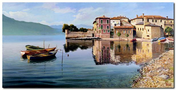 Quadro Quadro Quadro Adriano Galasso 'Paese sul lago' Stampa su Tela Canvas 357746