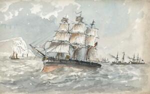 CAPTAIN-JOHN-HENRY-HOWARD-RN-Watercolour-Painting-ROYAL-NAVY-SHIP-AT-SEA-c1890-039-s