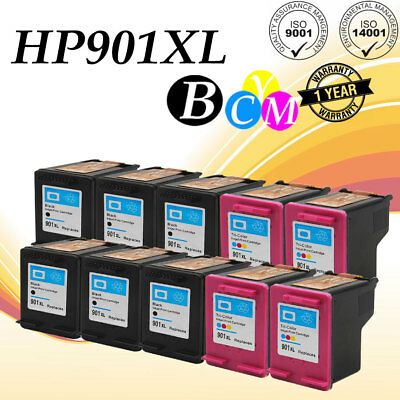 10PK 901XL Black//Color Ink Combo for HP 901 Officejet 4500 G510 Series Printer