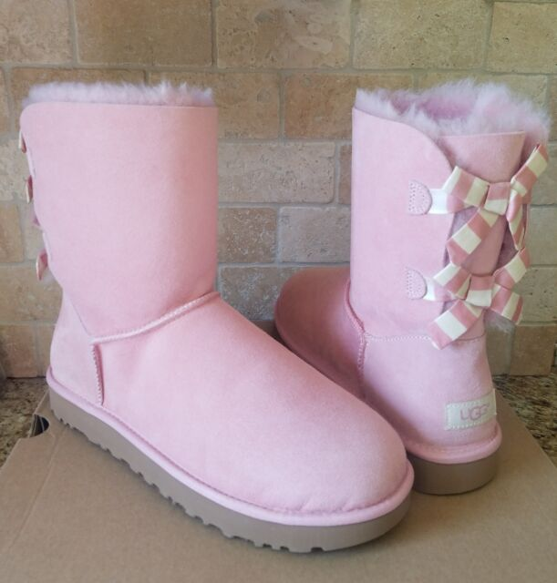 397e04383ca UGG SHORT BAILEY BOW STRIPE PINK BLUSH SUEDE SHEEPSKIN BOOTS SIZE US 11  WOMENS